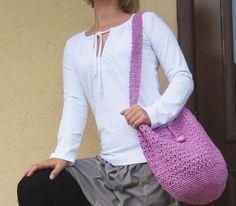 Taška - fialová háčkovaná - Lila kabelka taška háčkovaná háčkování kabela