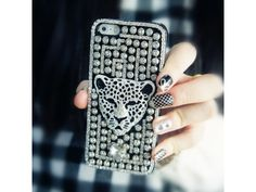 #3D Crystal Leopard #Punk Rivet iPhone 5/5S #Case