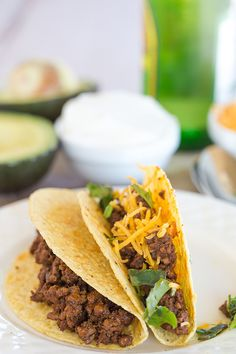Ground Beef Tacos - The absolute best seasoned ground beef for your taco fix! | browneyedbaker.com
