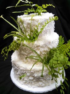 Nature inspired wedding cake decorate with fresh coconut and ferns