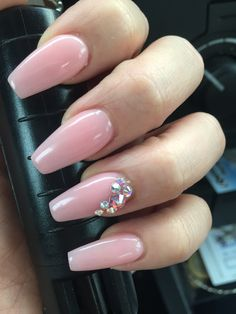 Coffin style natural looking nails