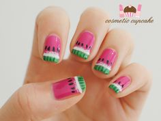 Summery watermelon nails