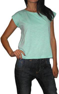 Γυναικεία βαμβακερή loose fit μπλούζα σε άκουα #moda #style #sales