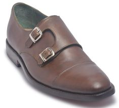 058f4b28a9 Men Brown Two Monk Strap Genuine Leather Shoes with Cap Toe