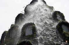 Water coming from the top of Montana Magica Lodge