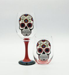 Red Sugar Skull Hand Painted Wine Glass Stemmed or Stemless