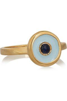 IAM by Ileana Makri|Gold-plated, sapphire and enamel ring|NET-A-PORTER.COM