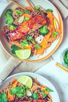 This 25 minute, dairy free teriyaki salmon soba noodles easy recipe is the perfect weeknight healthy dinner inspiration you need, transforming your midweek dinner from meh to finger lickin' awesomeness! When you pair big flavours and simplicity in one recipe, you know it's gonna be a good day. #teriyakisalmon #healthydinner #midweekdinnerrecipes #25minutemeals #salmonrecipes