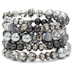 Chico's Jillian Coil Bracelet (85 BRL) ❤ liked on Polyvore featuring jewelry, bracelets, grey, plastic jewelry, plastic bangles, imitation jewelry, stacking bangles and grey jewelry