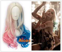 Puddin Suicide Squad Harley Quinn Blonde Blue Pink Mix 24''Long Wavy Cosplay Wig…