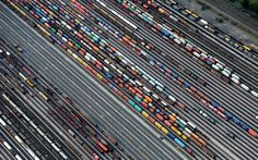 Freight trains are readied at the railroad shunting yard in Maschen, Germany on September 23, 2012.
