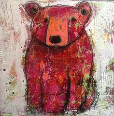 Knock knock...who's there?...Larry....Larry who?...Just Larry. - mixed media on cradled wood by Jacqui Fehl