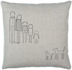 family pillow-offset. Choose the characters that look the most like your family. We'll embroider your selections onto a very special pillow just for you. Zipper closure, feather/down insert, dry-cleanable cover. Click through to see available people & pets. http://kstudiohome.myshopify.com/products/family-series-pillows
