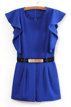 Blue Sleeveless Ruffles Rivet Belt Jumpsuit US$32.42