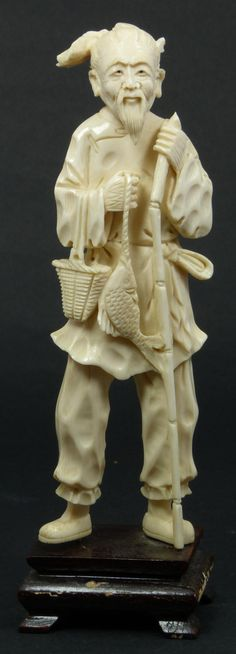 CHINESE IVORY CARVING | chinese ivory fisherman figure antique chinese hand carved ivory ...