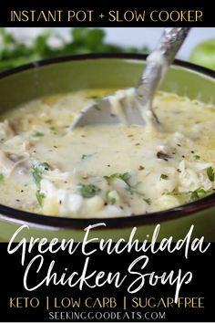 The best instant pot soup! Creamy green enchilada chicken soup is so tasty and easy to make in the crockpot. This Mexican keto soup is the perfect weeknight dinner recipe. Slow cooker and Instant Pot Instant Pot Dinner Recipes, Easy Dinner Recipes, Easy Meals, Cooker Recipes, Crockpot Recipes, Easy Crockpot Soup, Chili Recipes, Salad Recipes, Dessert Recipes