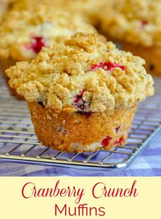 Moist, golden muffins with tart pops of cranberry and a buttery crunchy crumb topping. Perfect for a celebration brunch. Rock Recipes, Gourmet Recipes, Dessert Recipes, Desserts, Egg Recipes, Bread Recipes, Best Muffin Recipe, Muffin Recipes, Cranberry Muffins