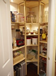 Love the corner shelves and lights. Add lazy Susan to middle cabinets for easy access