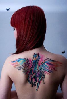 Watercolor Pegasus Tattoo// Back Tattoo Ideas// Tattoo Ideas// Watercolor Tattoo Ideas// Horse Tattoos Back Tattoos, Great Tattoos, Trendy Tattoos, Sexy Tattoos, Beautiful Tattoos, Body Art Tattoos, Tattoos For Women, Stylish Tattoo, Female Tattoos
