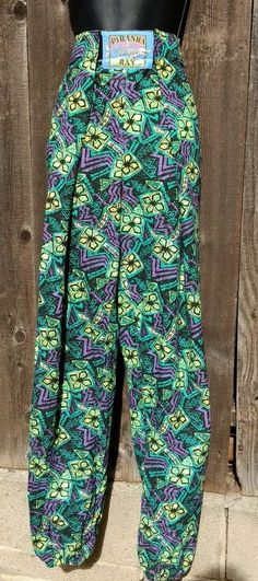 Vtg 80s Piranha Bay Pants Sz L Bodybuilder Surfer Neon Abstract Print High Waist #PiranhaBay #Casual