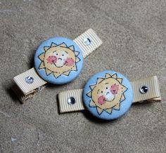 Sunshine Button Hair Clips by ThreeLittleHams  $6.50