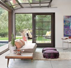 Adorable Working Place Interior of Authentic Suburban Flat: Fantastic Pool House Of Folly Farm With Long Wooden Soffa And Wooden Chairs Near The Blue Pool ~ SFXit Design Office Contemporary Garage Doors, Modern Garage Doors, Garage Door Design, Contemporary Decor, Modern Rustic Homes, Modern Rustic Interiors, Modern Farmhouse, Farmhouse Style, Restored Farmhouse