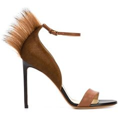 Francesco Russo Tapered Pony Fur Trim Sandals ($1,195) ❤ liked on Polyvore featuring shoes and sandals
