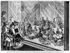 """Gilded Age women and children spectators ~ """"New York City - Holiday exhibition of dolls in a Window at Macy's, Fourteenth Street and Sixth Avenue, For Benefit of the Infant Asylum. """"  ~ c.1876. Granger image ~~ {cwl}"""