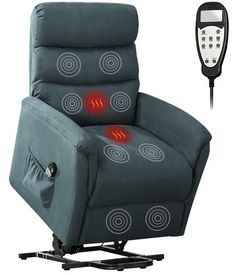 Bonzy Home Remote Control Recliner Chair with Vibration Massage and Heat - Electric Powered Lift Recliner Chair - Home Theater Seating - Bedroom & Living Room Chair Recliner Sofa for Elderly (Blue) Living Room Chairs, Living Room Furniture, Lift Recliners, Elderly Home, Home Theater Seating, Diy Chair, Reclining Sofa, Chairs For Sale, Chair Pads