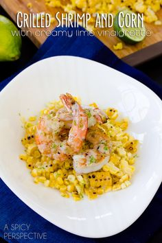 A bright and healthy spin on Shrimp and Grits, using grilled shrimp, grilled corn on the cob, and a light creamy lime vinaigrette.