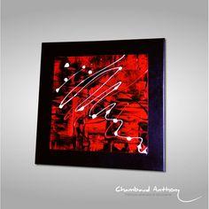 Tableau rouge, noir et blanc, les bords du chassis sont peints en noir donnant un parfait équilibre à la toile abstraite. Le chassïs est épais (voir photo).  Une tableau abstrait rouge en parfaite adéquation avec les salons ou chambres dans les tons de rouge et de noir ou encore gris.