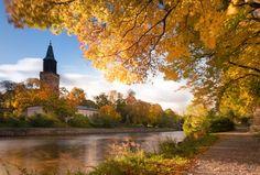 Aurajoki, Pirjo-Riitta Iltanen Landscape Pictures, Archipelago, Capital City, Vintage Postcards, Denmark, Norway, Sweden, Natural Beauty, Cathedral