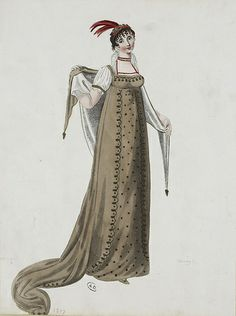 A brown trained gown 1807