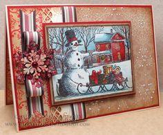Впечатление одержимости, резиновые печати и штампы Снеговик с саней