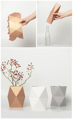 Minimalistische Vasen in Kupferfarbe