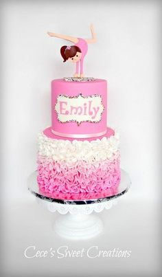 A simple pink ombre ruffle cake and a gymnastics girl topper to represent Emily… Everything is edible. This is my first ombre ruffle ...