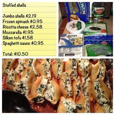 @frugal_living Stuffed Shells - vegetarian meal for family & guests! #vegetarian #pasta #tofu