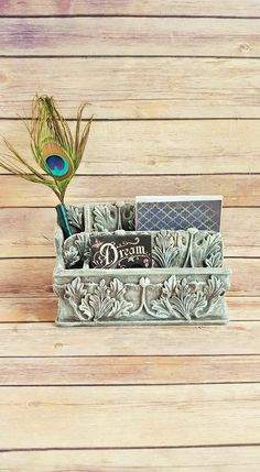 Office Organizer Caddy Catchall Antique White Acanthus Leaves French Country Farmhouse Vintage Up Cycled Eco Friendly READY TO SHIP - pinned by pin4etsy.com