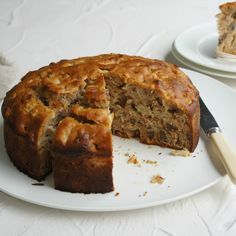 A delicious apple cake with a hint of honey that also happens to be dairy-free. A delicious apple cake with a hint of honey that also happens to be dairy-free. Healthy Apple Cake, Easy Apple Cake, Apple Cake Recipes, Healthy Baking, Baking Recipes, Dessert Recipes, Apple Cakes, Apple Desserts, Milk Recipes