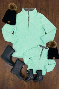 Mom & Me – Mint Sherpa Pullover – Sparkle In Pink Fall Outfits, Kids Outfits, Cute Outfits, Jikook, Mommy And Me Outfits, Mommy And Me Clothing, Children Clothing, Pullover Designs, Little Fashionista