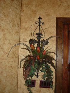 Custom Iron Wall Scroll with cross with custom floral arrangement. Old World, Tuscan, Traditional, Hacienda Home decor.