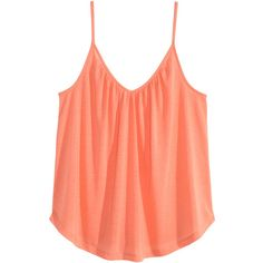 H&M V-neck top ($9.39) ❤ liked on Polyvore featuring tops, h&m, apricot, v-neck tops, vneck tops, red v neck top and red top