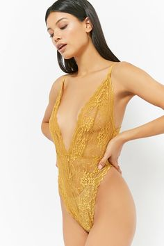 Product Name:Sheer Lace Plunging Bodysuit, Category:CLEARANCE_ZERO, Price:17.9