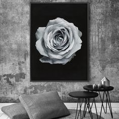 Featuring an isolated silver rose set against a dramatic black background, this canvas print was originally hand painted by our in-house artist team, and now available as a reproduction stretched and ready-to-hang canvas art piece. Size & frame colour options available. We ship worldwide. #ThePrintEmporium #botanical #floral #art #canvas #rose #wallart #floralart #moody #silver www.theprintemporium.com.au