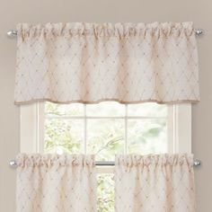 Crystal Brook Window Curtain Tier Pairs and Valance in Ivory - BedBathandBeyond.com