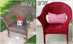 Krylon's Dual spray paint (a combination primer and paint in one) used to repaint a wicker chair. screen porches, chair, wicker furniture, patio furnitur, back porches, spray painting, modern patio, paint wicker, front porches