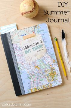 """DIY Summer Journal and Free """"Adventure is Out There"""" Printable. Great activity for kids this summer!"""