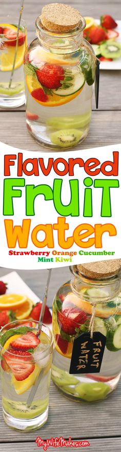 Super healthy Flavored Fruit Water infused with sliced strawberries, orange slices, cucumber, mint and kiwi. The perfect refreshing drink on a warm day! No artificial ingredients added.