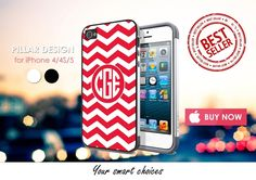 Phone Cases – MONOGRAM RED iphone 4/4S/5 case cover – a unique product by Reyes-Dawn- on DaWanda