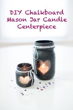 DIY: chalkboard mason jar candle centerpiece